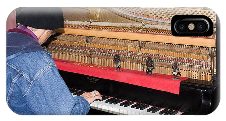 Man Playing 1909 Playtone Piano Converted From Player Style IPhone X Case featuring the photograph Antique Playtone Piano by Sally Weigand