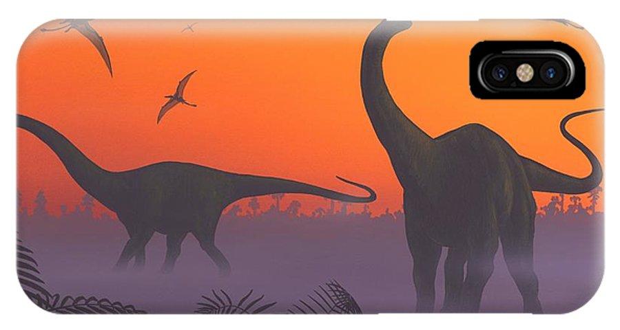 Apatosaurus IPhone X / XS Case featuring the photograph Apatosaur Dinosaurs, Artwork by Richard Bizley
