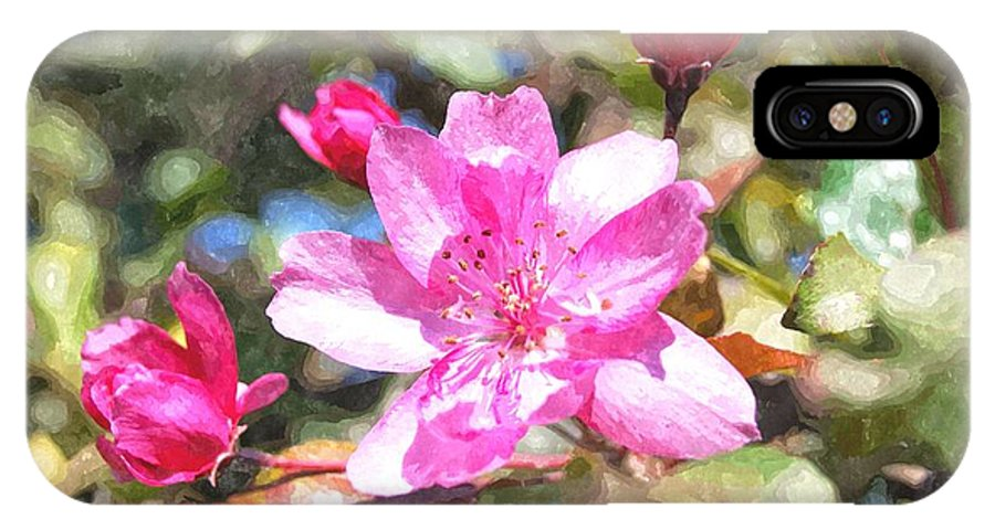 Flower IPhone X Case featuring the digital art Apple Blossom Abwc by Jim Brage