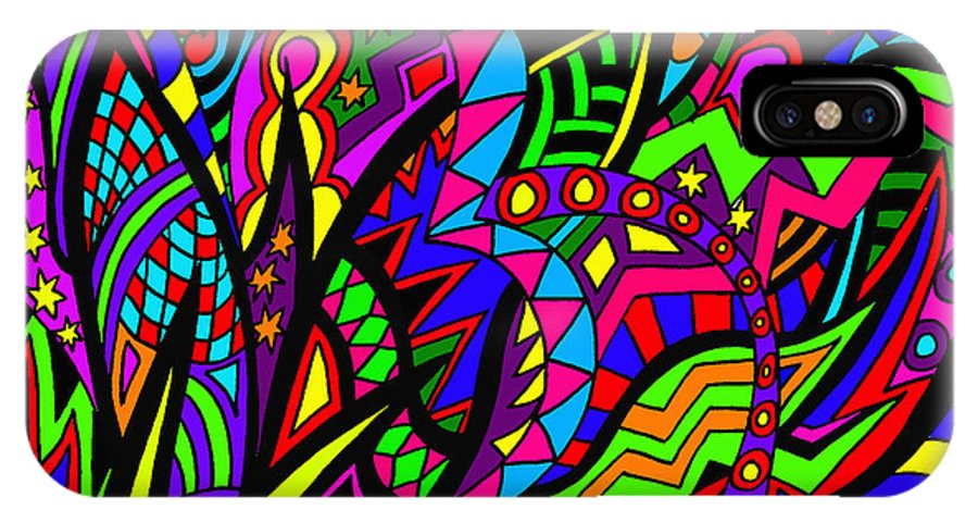 Abstract Art IPhone X / XS Case featuring the painting Arhhhhhhhhhhhhh by Karen Elzinga