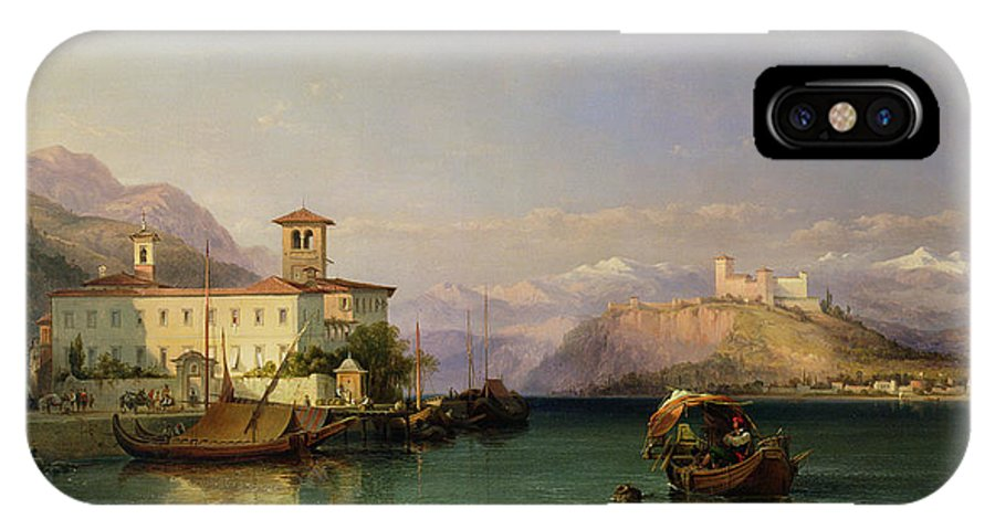North Italian Town; Landscape; Lago; Mountain Range; Mountainous; Rocca; Vernacular Architecture; Bell Tower; Covered Barge; Barges; Moored; Mooring IPhone X Case featuring the painting Arona And The Castle Of Angera Lake Maggiore by George Edwards Hering