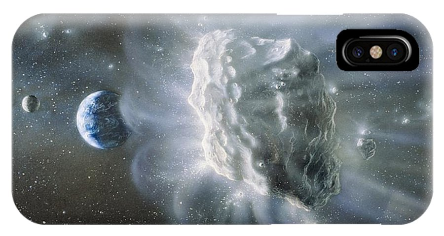 Comet IPhone X Case featuring the photograph Artwork Of Comet Approaching Earth by Chris Butler