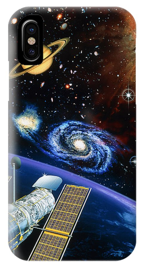 Hubble Space Telescope IPhone X Case featuring the photograph Artwork Of Hubble Space Telescope Over Earth by David Ducros