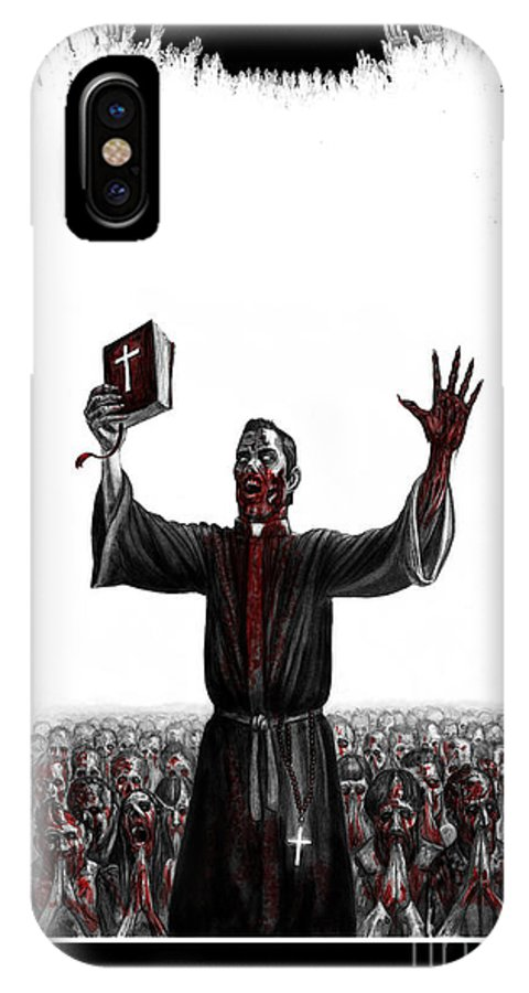 Zombie IPhone X Case featuring the drawing As I Rule They Shall Follow by Tony Koehl