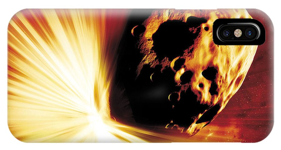 Explosion IPhone X Case featuring the photograph Asteroid Deflection, Stand-off Explosion by Detlev Van Ravenswaay