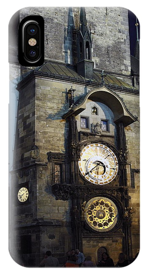 Old Town Hall Clock Tower IPhone X Case featuring the photograph Astronomical Clock At Night by Sally Weigand