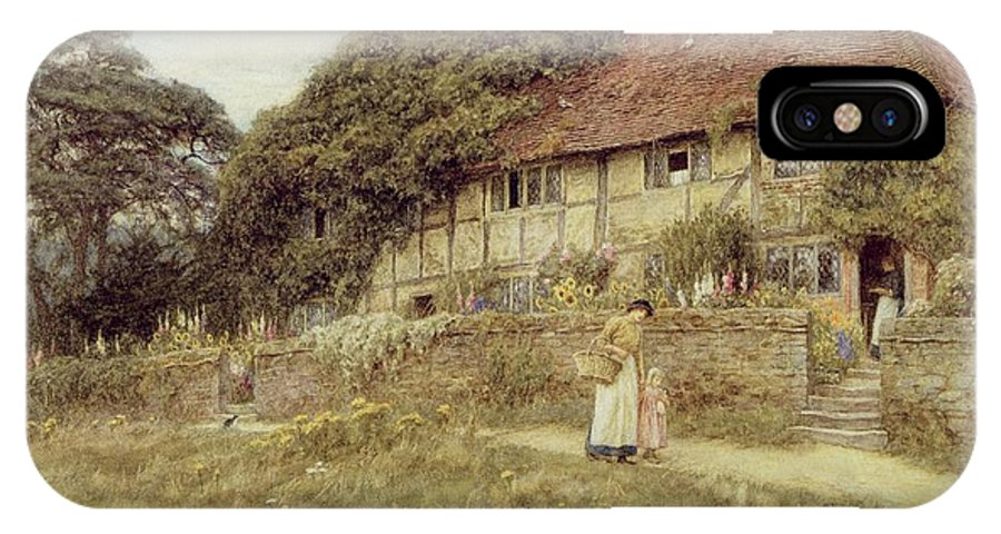 Female; Gate; Rural Scene; Country; Countryside; Home; Path; Garden; Wildflowers; Roses; Picturesque; Idyllic; Timber Frame; Half-timbered; House; Cottage; Mother And Child; Sunflowers; Daughter; Female IPhone X Case featuring the painting At Stedham Near Midhurst by Helen Allingham