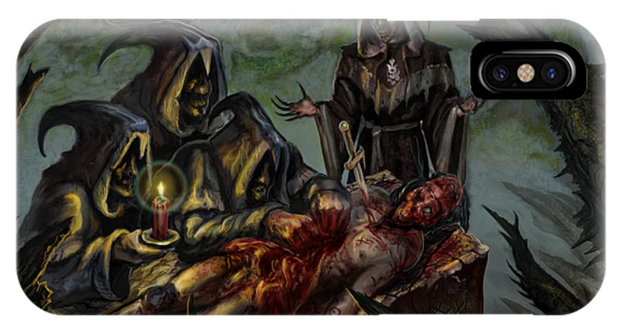 Apostles Of Perversion IPhone X Case featuring the mixed media Autopsy Of The Damned by Tony Koehl