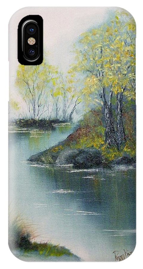Landscape IPhone X Case featuring the painting Autumn Afternoon by Peggy King