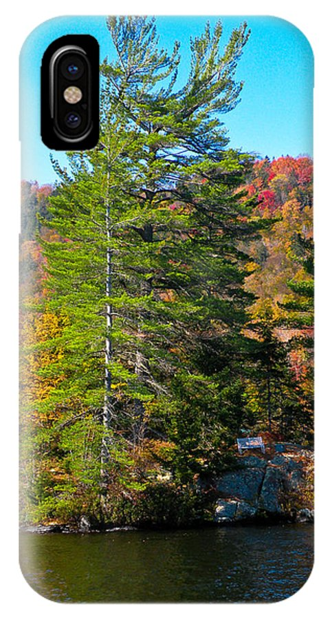 The Adirondacks IPhone X Case featuring the photograph Adirondack Color P8 The White Bench by David Patterson