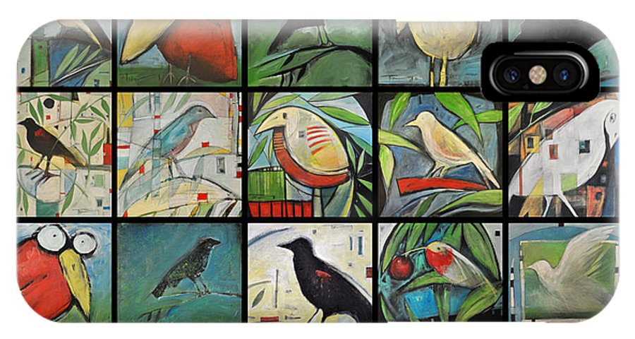 Bird IPhone X Case featuring the painting Aviary Poster by Tim Nyberg