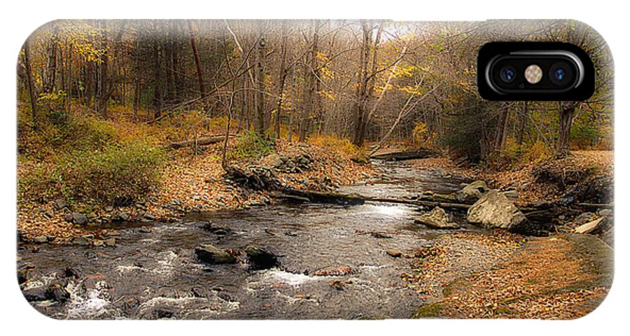 Stream IPhone X Case featuring the photograph Babbling Brook In Autumn by Cathy Kovarik