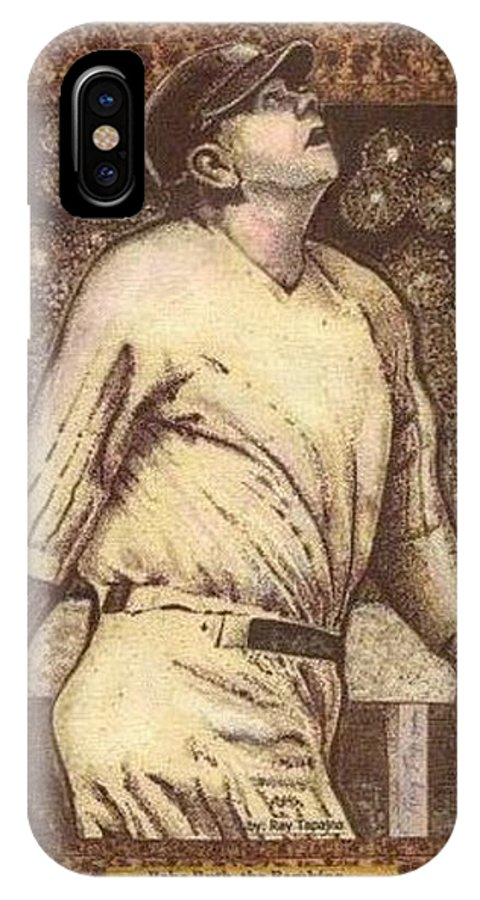 Babe Ruth IPhone X / XS Case featuring the mixed media Babe Ruth The Bambino by Ray Tapajna