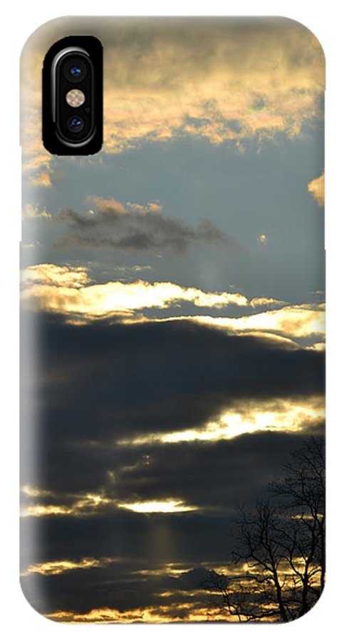 Sunset IPhone X Case featuring the photograph Backlit Clouds by Bonnie Myszka