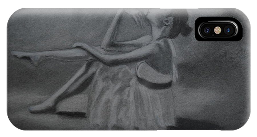 Ballerina IPhone X Case featuring the drawing Ballerina by Michael Brennan