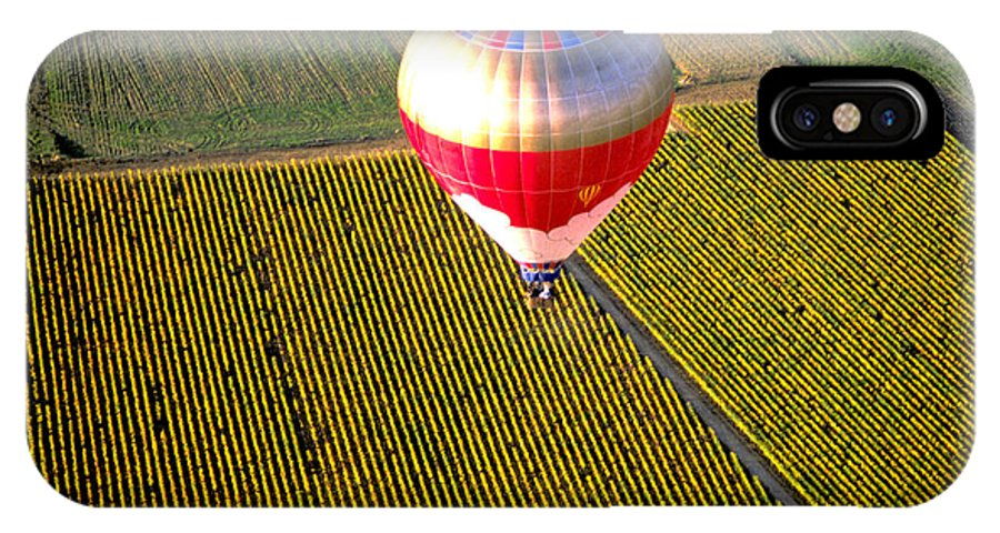 Vineyards IPhone X Case featuring the photograph Ballooning Over Burgundy by Carl Purcell