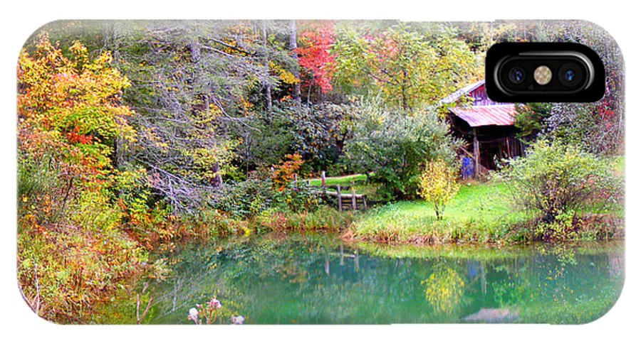 Barns IPhone X Case featuring the photograph Barn And Pond In The Fall by Duane McCullough