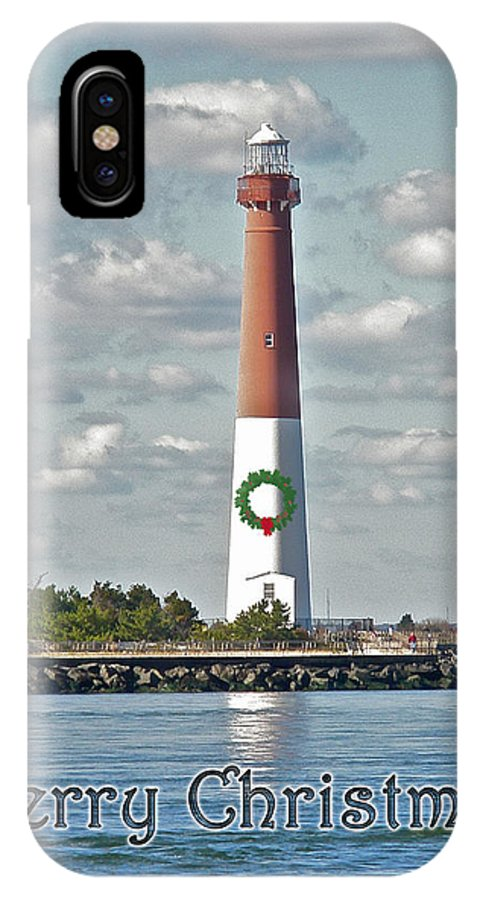 Christmas IPhone X / XS Case featuring the photograph Barnegat Lighthouse - New Jersey - Christmas Card by Mother Nature