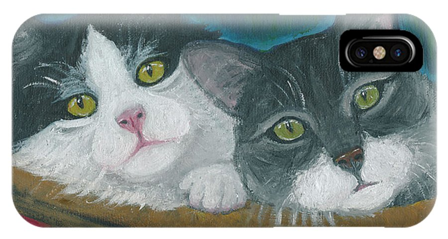 Cat IPhone X Case featuring the painting Basket Of Kitties by Ania M Milo