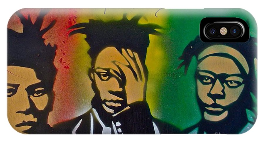 Jean Michel Basquait IPhone X Case featuring the painting Basquait Me Myself And I by Tony B Conscious