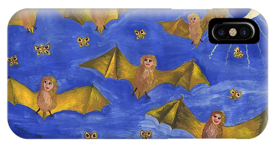 Bat IPhone X Case featuring the painting Bat People At The Pipistrelle Party by Sushila Burgess