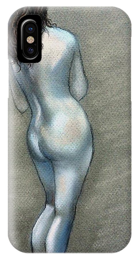 Nude IPhone X Case featuring the drawing Bath Time by Julie Brugh Riffey