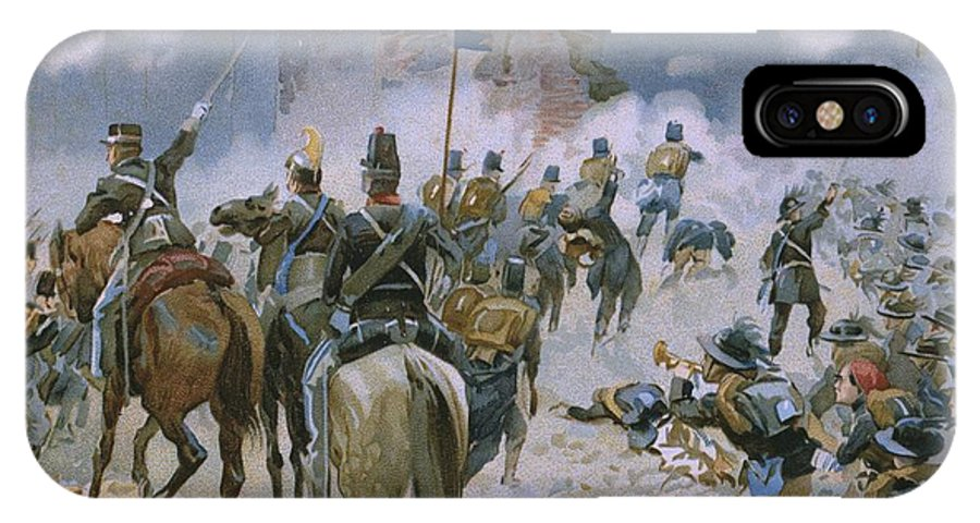 Male; Soldier; Soldiers; Army; Uniform; Military; Horse; Horses; Cavalry; Infantry; Bugler; Charge; Smoke; Nationalist; Nationalists; War; Italian Unification; Tower; Walls; City IPhone X Case featuring the painting Battle Of Solferino And San Martino by Italian School