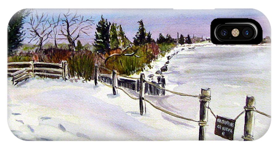 Barnegat Bay IPhone X Case featuring the painting Bay Freeze by Clara Sue Beym
