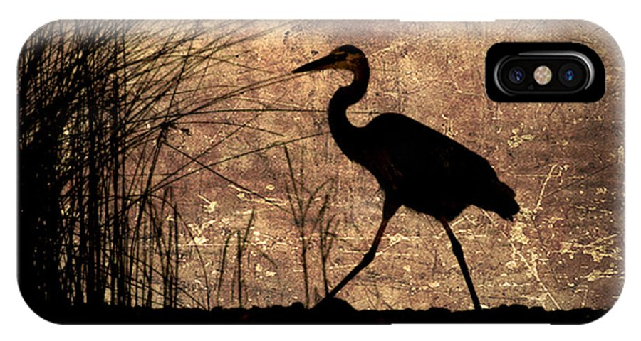Heron IPhone X Case featuring the photograph Bayou Walk by Joan McCool
