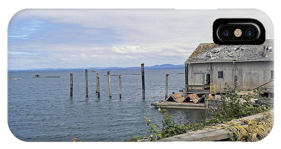 Boats IPhone X Case featuring the photograph Bayside Boat Barn by Pamela Patch