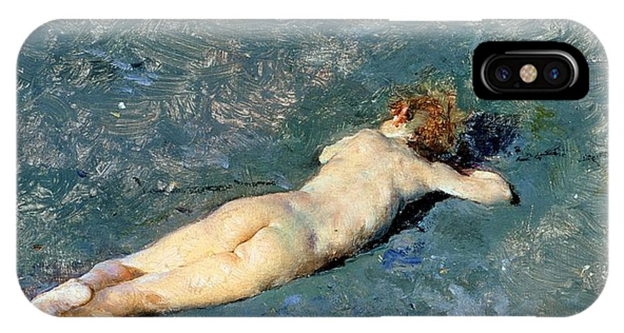 Nude IPhone X Case featuring the painting Beach At Portici by Mariano Fortuny y Marsal