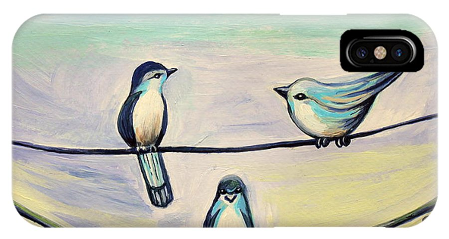 Beach IPhone X Case featuring the painting Beach Birds by Elizabeth Robinette Tyndall