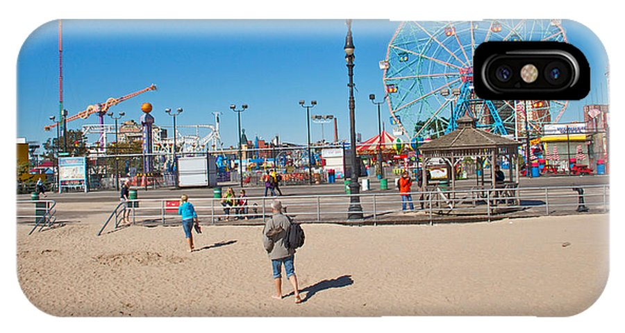 Coney Island Beach View Amusement Park IPhone X Case featuring the photograph Beach View by Alice Gipson