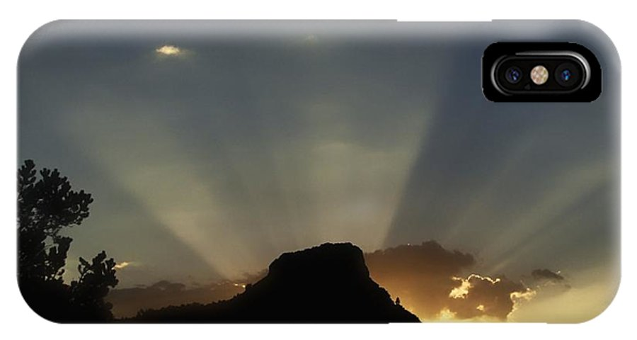 Sunset IPhone X Case featuring the photograph Beam Me Up by Ramie Liddle