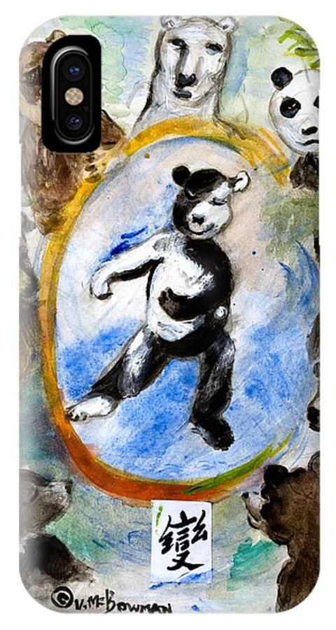 Bears IPhone X Case featuring the painting The Be-yourself Bear by ClareMaria Vrindaji Bowman