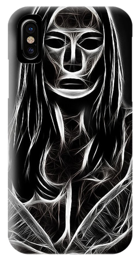 Women Female Painting Abstract Black White Bw Mask Portrait Expressionism Impressionism IPhone X Case featuring the digital art Behind A Mask by Steve K