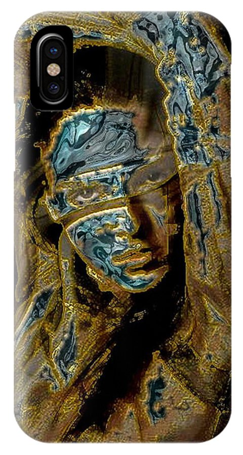Portrait IPhone X Case featuring the mixed media Behind Mask by Freddy Kirsheh