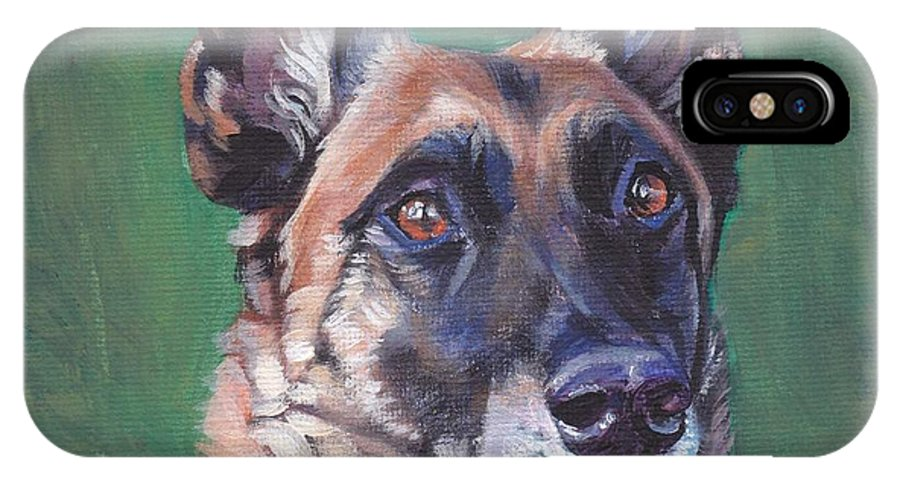 Belgian Malinois IPhone X Case featuring the painting Belgian Malinois by Lee Ann Shepard