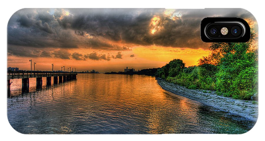 Belle Isle IPhone X Case featuring the photograph Sunset At Belle Isle Pier Detroit Mi by Nicholas Grunas