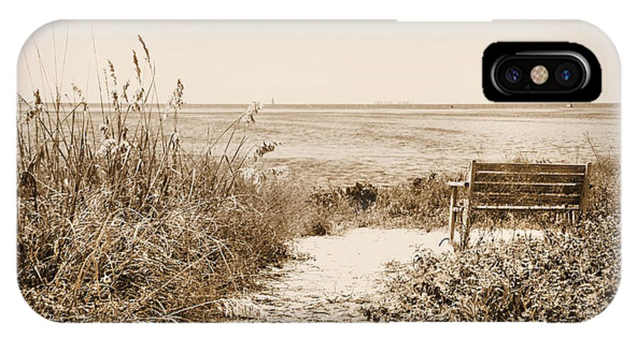 Bench IPhone X / XS Case featuring the photograph Bench With A View by Rosalie Scanlon