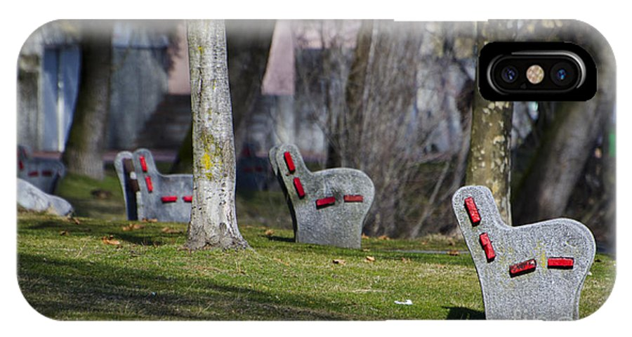 Benches IPhone X Case featuring the photograph Benches by Mats Silvan