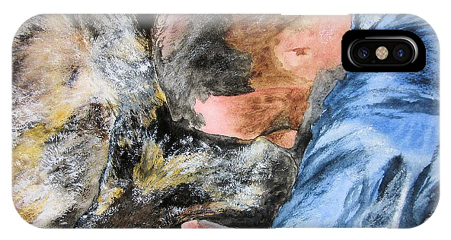 Man IPhone X Case featuring the painting Best Friends-watercolor Study by Maris Sherwood