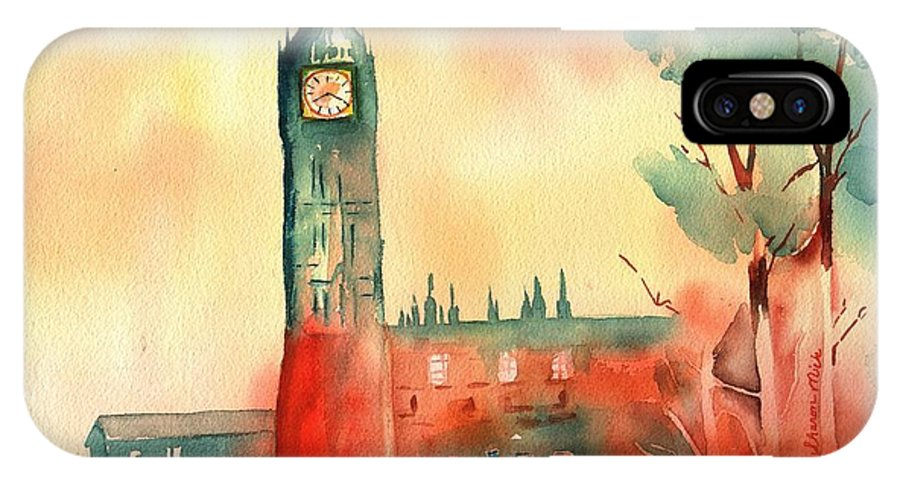 Sharon Mick IPhone X / XS Case featuring the painting Big Ben  Elizabeth Tower by Sharon Mick