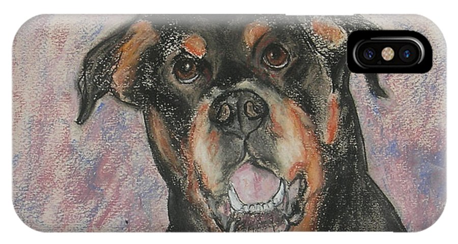 Rottweiler IPhone X Case featuring the drawing Big Pussycat by Cori Solomon