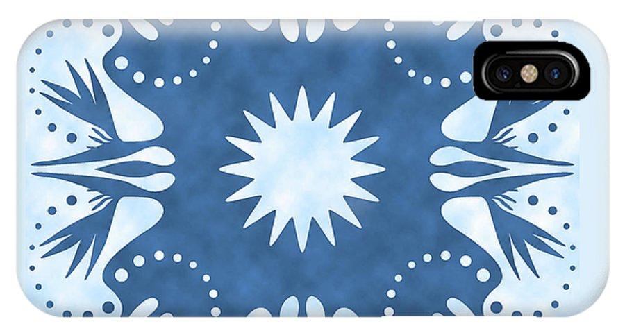 Hawaiian Quilt IPhone X Case featuring the digital art Bird Of Paradise Hawaiian Quilt Block by Alison Stein