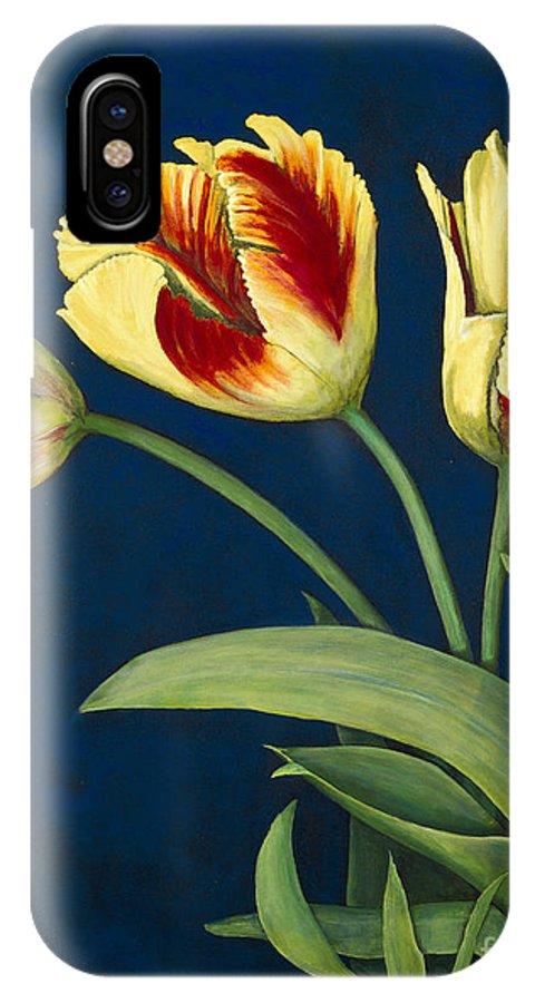 Konnie Laumer IPhone X Case featuring the painting Bird Of Paradise Tulips by Konnie Laumer