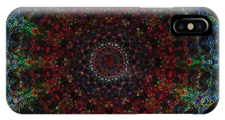 Bismuth-crystal-ore-based-mandala IPhone X Case featuring the digital art Bizzmuzz Oval Mandala by Richard Jones