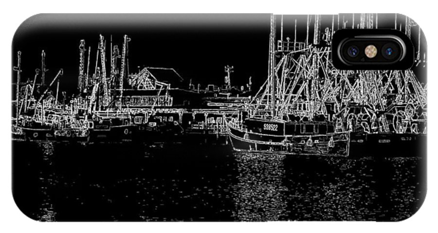 Cape May New Jersey IPhone X Case featuring the photograph Black And White Fishing Boats by Tom Singleton