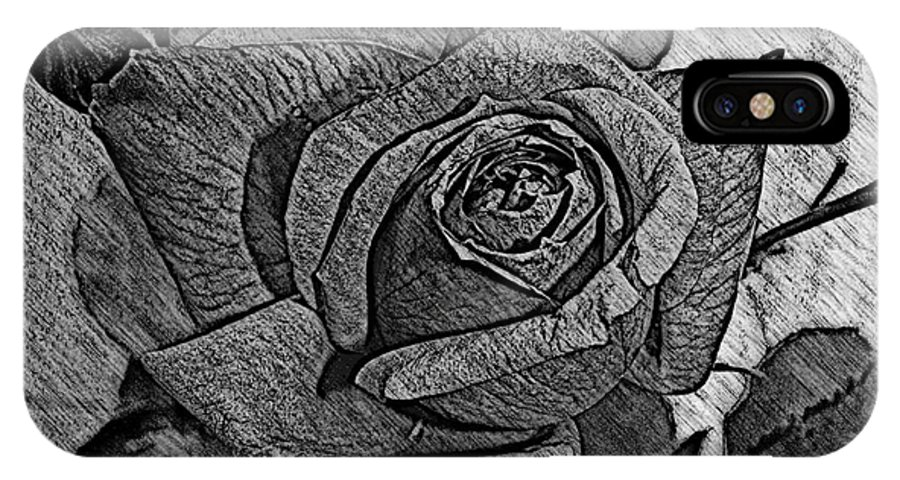 Rose IPhone X Case featuring the photograph Black And White Rose Sketch by Barbara Griffin