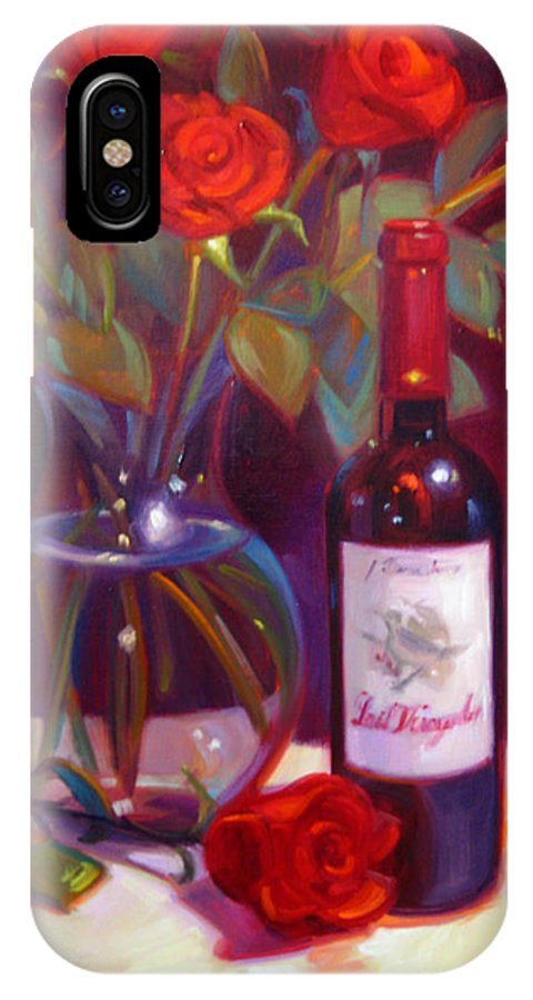 Wine Artist IPhone X Case featuring the painting Black Cherry Bouquet by Penelope Moore